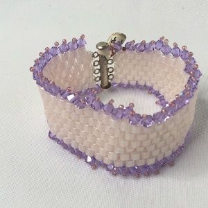 Vintage Wide White Glass Beaded Bracelet